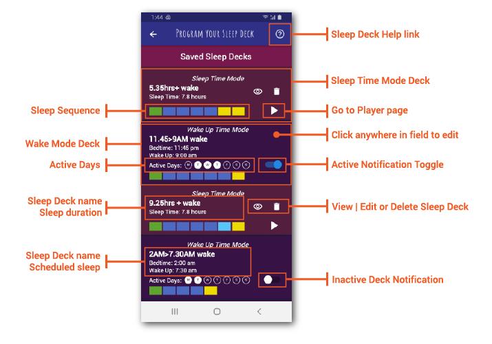 Saved Sleep Decks page details